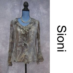 Sioni 100% Silk Animal Print Flutter Sleeve Blouse